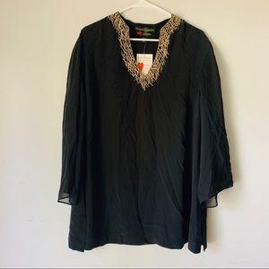 Bonnie Roseman Collection Black Silk Blous Sz 20W